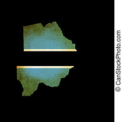 Map outline of Botswana with flag grunge paper effect