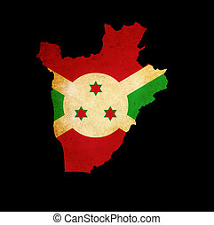 Map outline of Burundi with flag grunge paper effect -...