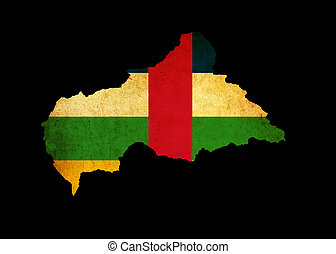 Outline map of Central African Republic with flag and grunge paper effect