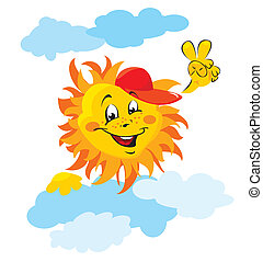 Smiling sun cartoon with clouds on white background