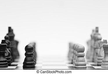 ajedrez, juego, estrategia, empresa / negocio, concepto,...