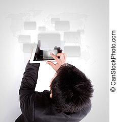 Business man using a touch screen device