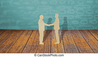 Paper cut of two business man shake hand - Paper cut of two...
