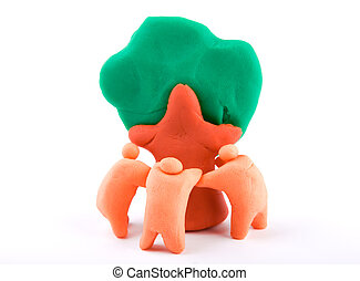Plasticine of  people embracing a tree