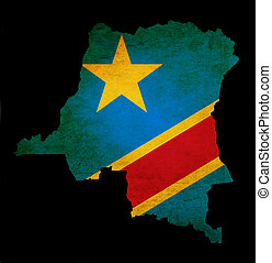 Outline map of Democratic Republic of Congo with flag and...