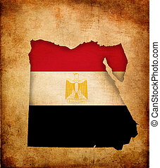 Map outline of Egypt with flag grunge paper effect