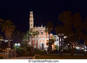 St. Peter church in Old Yaffo - Night view of St. Peter...