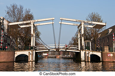Magere Bridge, Amsterdam - The famous Magere bridge in...