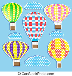 hot air balloons - Set of colorful hot air balloonsVector...
