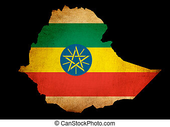 Map outline of Ethiopia with flag grunge paper effect
