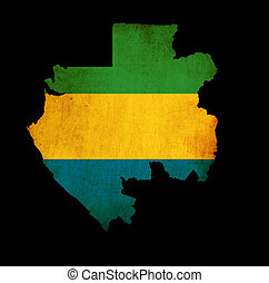 Map outline of Gabon with flag grunge paper effect