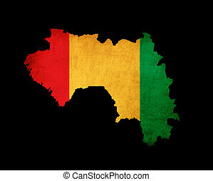 Map outline of Guinea with flag grunge paper effect -...