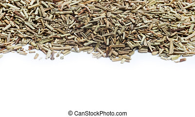 Chopped rosemary herb on white background