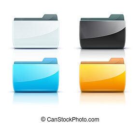 Folder icons - illustration set of interface computer folder...