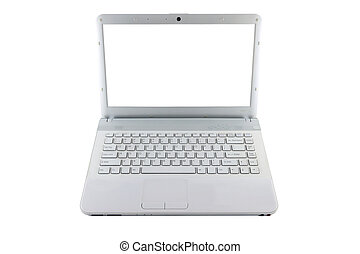 Computer notebook white screen on white background.