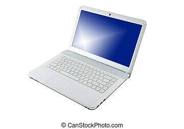Computer notebook blue screen on white background.