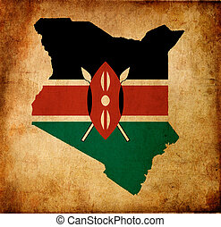 Map outline of Kenya with flag grunge paper effect - Outline...