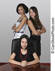 從事工商業的女性, 三, 辦公室, 專業人員