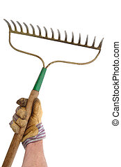 Gardener Holding a Garden Rake Isolated On White