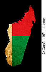 Map outline of Madagascar with flag grunge paper effect