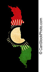 Map outline of Malawi with flag grunge paper effect