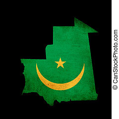 Map outline of Mauritania with flag grunge paper effect
