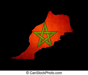 Map outline of Morocco with flag grunge paper effect