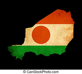 Map outline of Niger with flag grunge paper effect