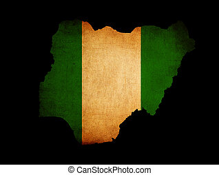 Map outline of Nigeria with flag grunge paper effect