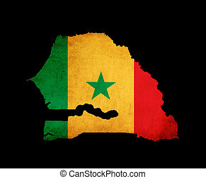 Map outline of Senegal with flag grunge paper effect