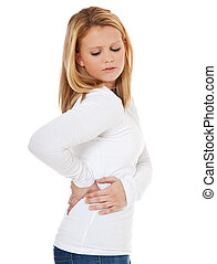 Back pain - Attractive teenage girl suffering from muscle...