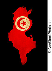 Map outline of Tunisia with flag grunge paper effect