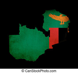 Map outline of Zambia with flag grunge paper effect
