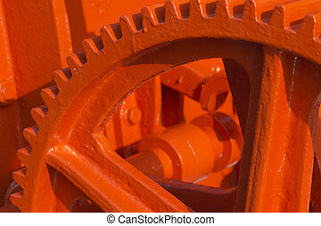 Red gear - Detailed view of the red-coated gears