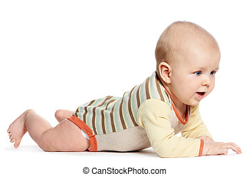 little laughing crawling baby on white - Cute little...