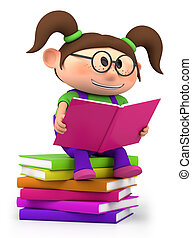 little girl reading - cute little cartoon girl sitting on...