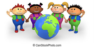 kids with globe - cute multi-ethnic kids with globe - high...