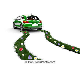 Ecology car - A green car drive and create grass with...