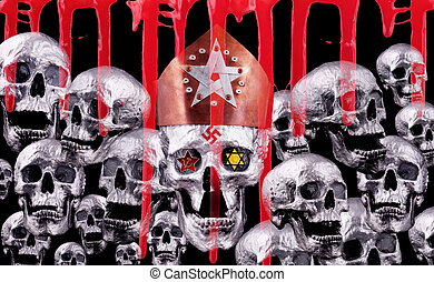 7 trumpets - A silver skull with a copper crest and human...