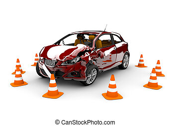 Red car accident - A red car in an accident with many...