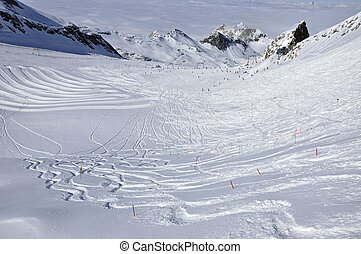 Slopes in ski resort, Austrian Alp - Slopes in Kitzsteinhorn...