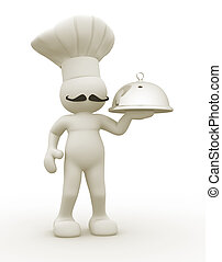 Chef - 3d people - human character, person with a plateau....