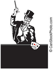 Magician with card trick