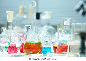 Flasks - Image of empty glass flasks in laboratory