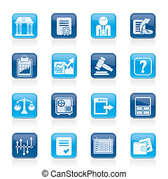 Stock exchange and finance icons - vector icon set