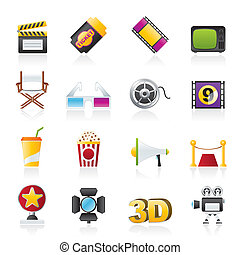 Cinema and Movie icons- vector icon set