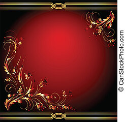 Background with golden ornament - Background with luxury...