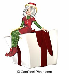 Christmas Elf sitting on present - Illustration of a female...