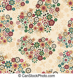 vector spring seamless pattern with flowers organized in heart shapes