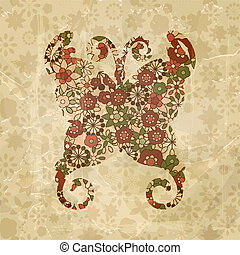 vector spring floral butterfly, vintage style, old paper...